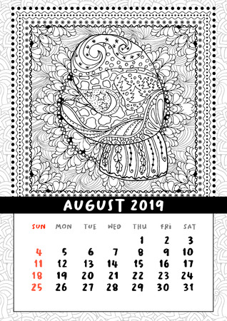 Mitten with scenery doodle pattern, calendar August 2019. Coloring book page for adults and children with landscape doodle illustration. Handdrawn monochrome christmas poster. Vector
