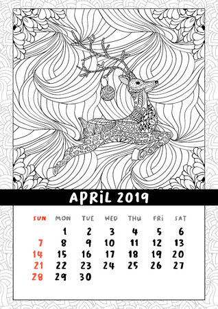 Christmas deer calendar, calendar april 2019 year. Coloring book poster for adults and kids with traditional holiday symbol reindeer with ball. Black and white vector illustration in doodle style