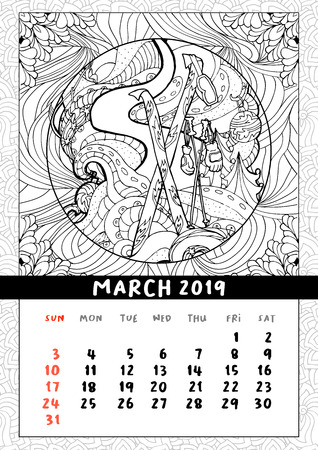 Skiing at Christmas calendar, calendar March 2019. Winter sports on holidays, skiing on snowy slopes scene. Doodle coloring book pages. Vector contour monochrome illustration 일러스트