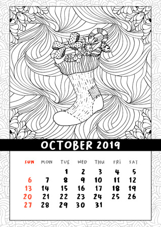 Christmas sock with gifts, calendar October 2019. Traditional Christmas symbol in coloring book page format. Handdrawn festive illustration in outline style. Vector doodle poster