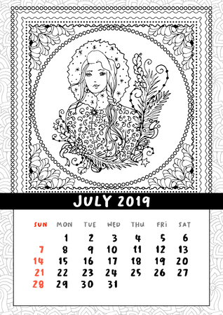 Snow Maiden coloring book page, calendar July 2019. Snegurochka woman traditional fairy folk character. Portrait of christmas lady in boho doodle style. Handdrawn vector illustration pattern 일러스트