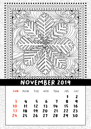 Snowflake coloring book page, calendar November 2019. Handdraw doodle illustration in square frame. Black and white line art poster. Vector, pattern