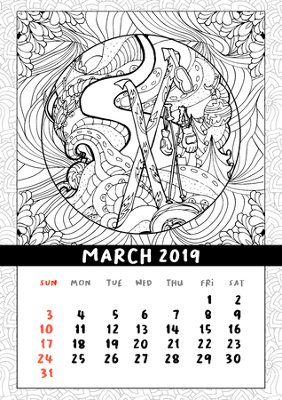 Skiing at Christmas calendar, calendar March 2019. Winter sports on holidays, skiing on snowy slopes scene. Doodle coloring book pages. 스톡 콘텐츠