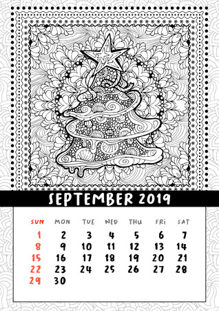 Christmas tree doodle pattern, calendar september 2019. Traditional Christmas and New Year symbol in coloring book poster layout. Handdrawn festive illustration in line art style. 스톡 콘텐츠