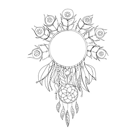 Black and White Dreamcatcher Isolated Symbol. Fashion Illustration for Antistress Coloring Book or Page Design
