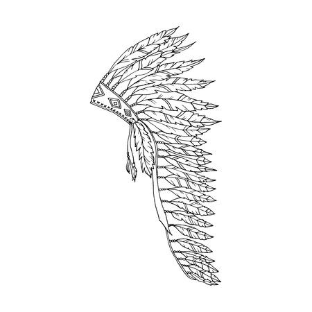 Dessin de contour américain Warbonnet. Chapeau de plume d'aigle à colorier accessoire de mode. Coiffe indienne indigène. Thanksgiving et Halloween Vector Costume Illustration.
