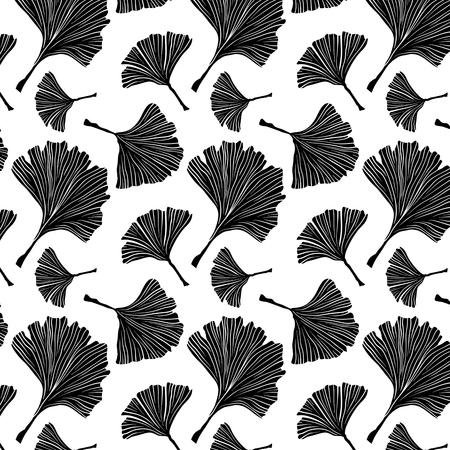 Ginkgo Biloba Plant Seamless Pattern, Large Black Leaves Silhouettes on White.  Monochrome Illustration. Ayurvedic Medicine Theme. Japanese Tree.