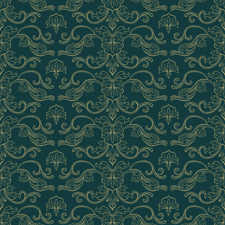 Damask Vector Seamless Pattern. Vintage Style Wallpaper, Carpet or Wrapping Paper Design. Green and Gold Italian Medieval Floral Flourishes, Greek Flowers for Textures. Baroque Leaves Vektoros illusztráció