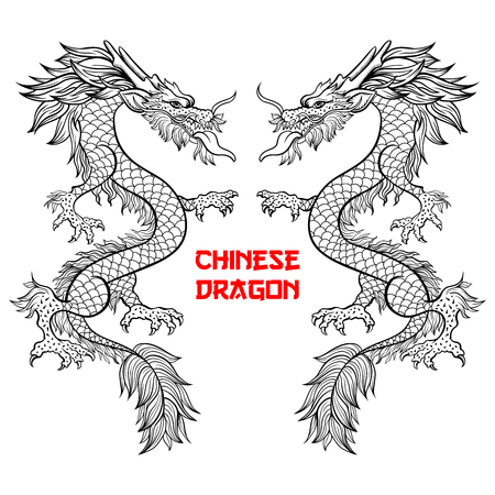 Two Chinese dragons hand drawn vector illustration. Mythical creature ink pen sketch. Black and white clipart. Serpent freehand drawing. Isolated monochrome mythic design element. Chinese new year poster Vettoriali