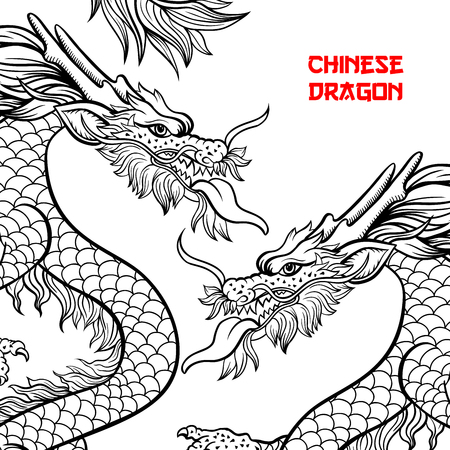 Two Chinese dragons hand drawn vector illustration. Mythical creature ink pen sketch. Black and white clipart. Serpent freehand drawing. Isolated monochrome mythic design element. Chinese new year pos