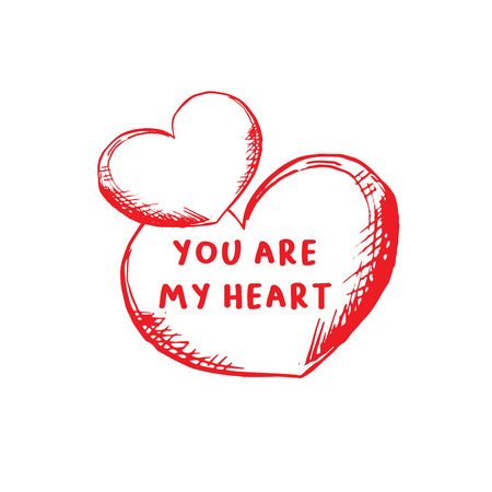 Valentines Day Greeting Card or Poster with Sketch. Laser Cutting File Isolated on White Background. Vector Engraved with Lettering Wishes Love You