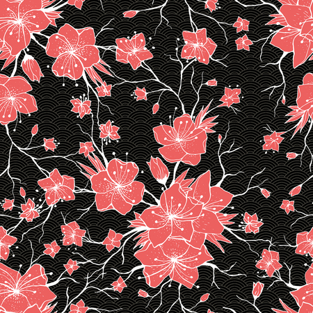 Sakura branches seamless pattern. Japanese Cherry abstract texture. Apple tree twigs with flowers and buds. Vector Red Flower blossom background, white contour, outline.