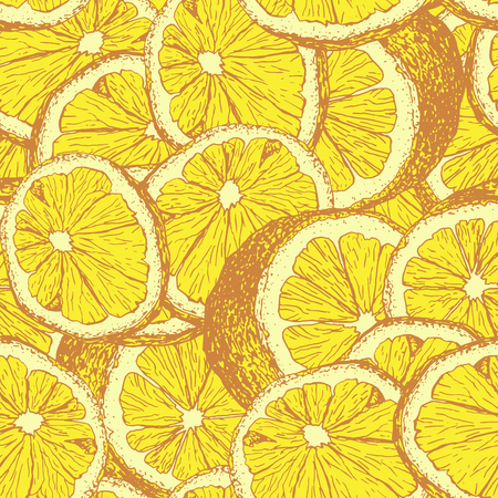 Yellow lemons hand drawn seamless pattern. Sliced citrus color outline drawing. Lemon slices and cuts sketch. Realistic citrus fruit texture. Wrapping paper, textile, wallpaper, background vector fill