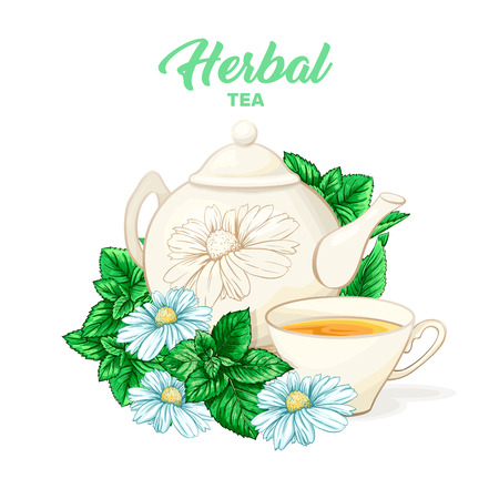 Herbal tea hand drawn color illustration. Ceramic teapot, porcelain cup, camomile flower, mint, teatime watercolor drawing. Isolated organic tea herbs packaging design concept.