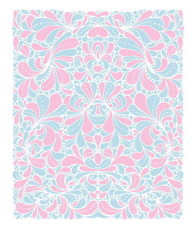 Rose Quartz and Serenity trendy colors of the year 2016 in the pattern. Doodle style ornament with floral elements. For fabric textile or print design Çizim