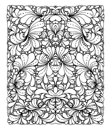 Coloring book page design with pattern. Symmetric ethnic ornament. Isolated vector illustration in doodle style. Headwear or neckwear design.