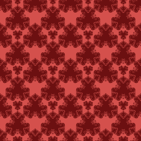 Seamless pattern with red damask ornament.Vector illustration. Vector illustration