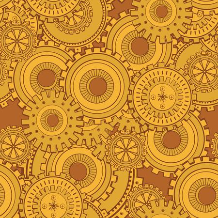 Golden iron gearwheels technology backdrop. Vintage wallpaper with mechanism. Steampunk style