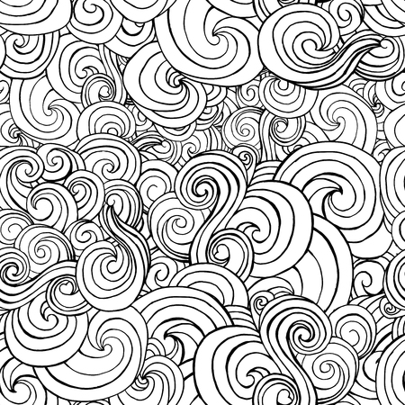 Seamless pattern with black and white stylized curls and waves for fabric textile design, pillow or wrapping. Vector illustration