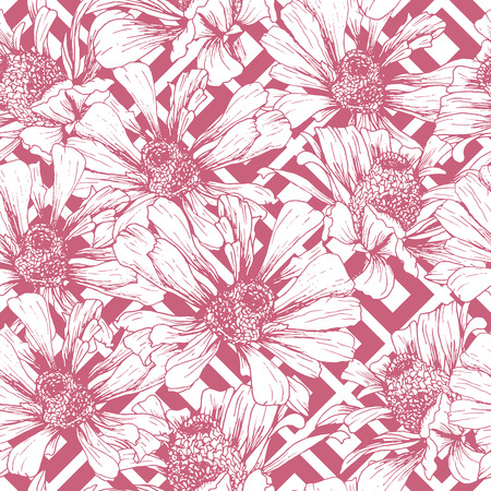 Romantic Pink Seamless Pattern for Valentines Day Holiday Wrapping Paper Design. Vector Feminine Floral Wallpaper Template with Helenium Autumnale Flower Vektorové ilustrace