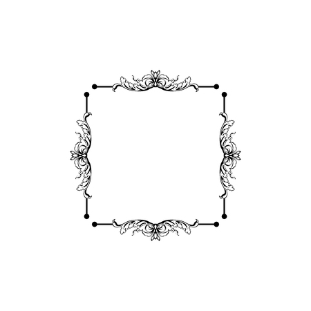 Floral vintage decorative vector frame. Flower black ink Square filigree border with text space. Isolated calligraphic frame with copyspace. Invitation, greeting card, poster flourish design element