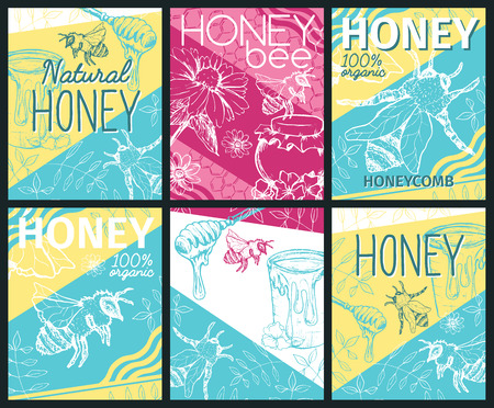 Isolated cards with bee and fresh honey. Signs with hexagon honeycomb and spoon for gathering. Labels for healthy nutrition market or shop, store with beeswax. Insects food retail theme