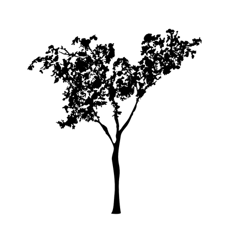 Green tree silhouette, handdrawn watercolor splashes, isolated on white background. Vector artistic illustration Ilustração