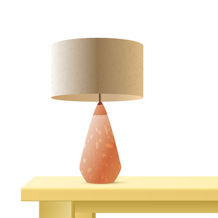 Night table lamp realistic 3d vector rendering illustration. Interior bedside light. Living room, bedroom desk lamp on white background. Home decor. Isolated color design element Ilustração