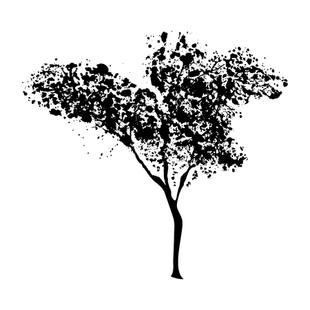 Green tree silhouette, handdrawn watercolor splashes, isolated on white background. Vector artistic illustration Illustration