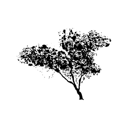 Green tree silhouette, handdrawn watercolor splashes, isolated on white background. Vector artistic illustration Banco de Imagens - 124481661