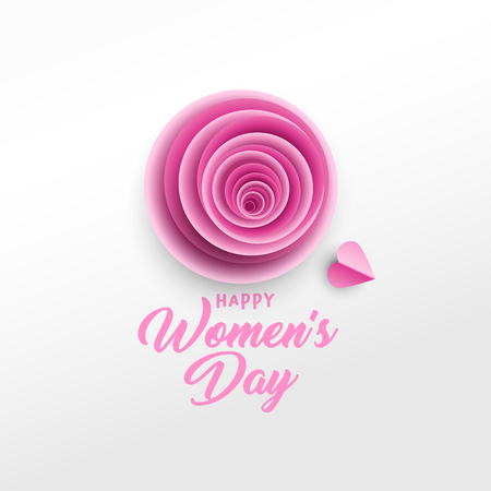 Happy Women s Day greeting card vector template. Rose bud, purple hearts paper cut composition. Illustration with handwritten lettering, origami. International women s day paper art poster design Illustration