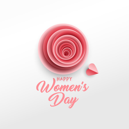 Happy Women s Day greeting card vector template. Rose bud, red hearts paper cut composition. Illustration with handwritten lettering, origami. International women s day paper art poster design