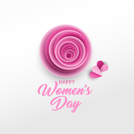 Happy Women s Day greeting card vector template. Rose bud, purple hearts paper cut composition. Illustration with handwritten lettering, origami. International women s day paper art poster design Ilustração