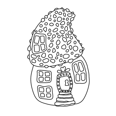 Mushroom house hand drawn vector illustration. Fairy composition outline drawing. Childrens ink pen sketch. Black and white fairytale doodle clipart. Isolated coloring book, linear design element 일러스트