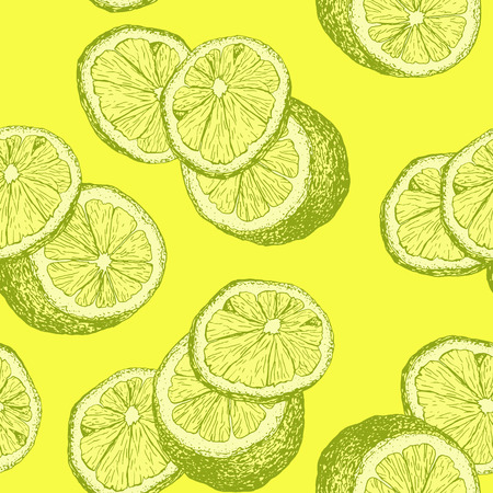 Hand Drawn Sketch Lemons and Lemon Slices for Kids Room, Light Yellow or Lime Tea. Interiors or Fresh Summer Accessories and Clothing, Mojito Cocktail or Lemonade Wrapping. Ilustração