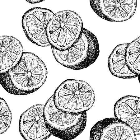 Fresh lemons hand drawn seamless vector pattern. Sliced citrus ink pen outline drawing. Fruit slices and cuts sketch. Realistic lemon color texture. Engraving style wrapping paper, textile, background Ilustração
