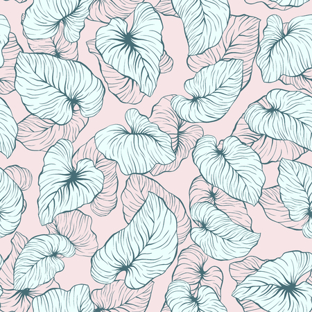 Falling Palm Leaves Repeat Seamless Vector Pattern for Italian Wedding or Pillow Tropical Background Design