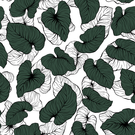 Falling Contrast Outline and Dark Green Palm Leaves Seamless Vector Pattern