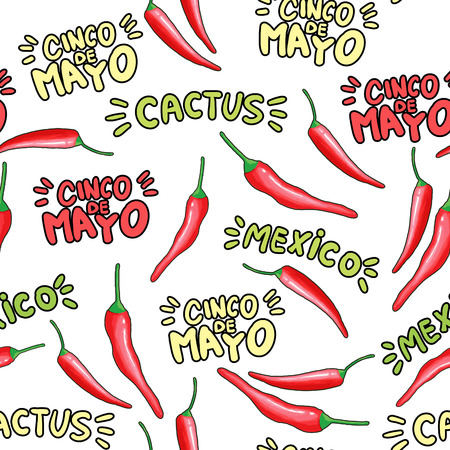 Red chili cartoon seamless pattern. Hot chilli peppers doodle texture. Cinco de Mayo, cactus hand drawn stylized lettering. Mexican holiday background. Spicy vegetable wrapping paper vector fill Illustration