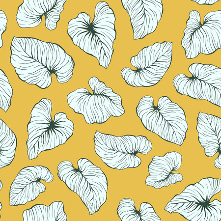 Yellow Falling Palm Leaves Repeat Seamless Vector Pattern Illustration