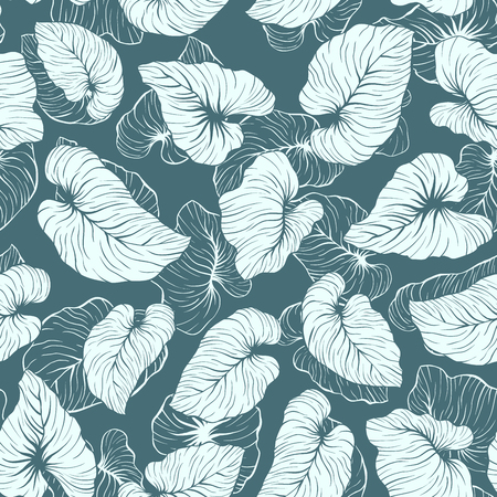 Falling Palm Leaves Repeat Seamless Vector Pattern Illustration
