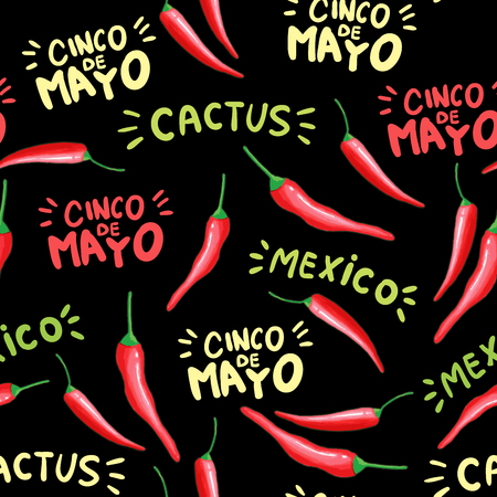 Red chili cartoon seamless pattern. Hot chilli peppers doodle texture. Cinco de Mayo, cactus hand drawn stylized lettering. Mexican holiday, black background. Spicy vegetable wrapping paper Ilustração