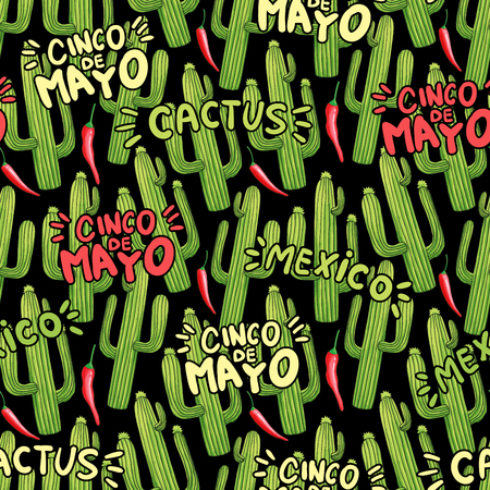 Cactuses cartoon seamless pattern. Green cacti and red chili peppers doodle texture. Cinco de Mayo and Mexico hand drawn color lettering. Mexican holiday background. Festive wrapping paper flat design Illustration