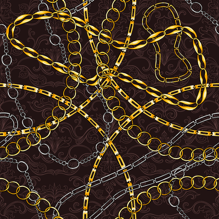 Golden, silver chains hand drawn seamless pattern. Abstract ornate texture. Damask filigree sketch background. Baroque style vintage illustration. Textile, wallpaper, wrapping paper flourish design