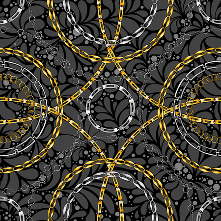 Damask seamless vector pattern with chains. Abstract ornate glamour texture. Golden and silver jewellery rings on dark background. Decorative bijouterie ornament. Wallpaper, wrapping paper design Illustration