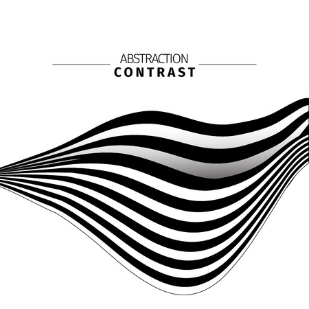 Abstract black and white stripes color background with text space. Monochrome ribbon drawing. Contrast waves vector illustration. 3d wavy backdrop composition. Minimalistic poster design idea
