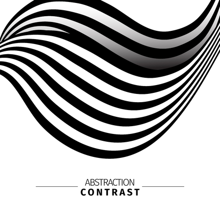 Abstract black and white 3d waves color background with text space. Wavy backdrop composition. Monochrome wave-like drawing. Contrast stripes vector illustration. Minimalistic poster concept Ilustração