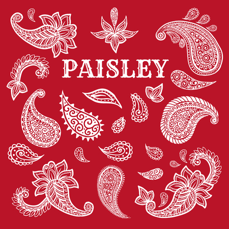 Paisley motifs hand drawn illustrations set. Buta ink pen isolated cliparts. Persian ornate sketch drawings. Monochrome boteh curls collection. Greeting card, textile ornamental design elements Ilustração
