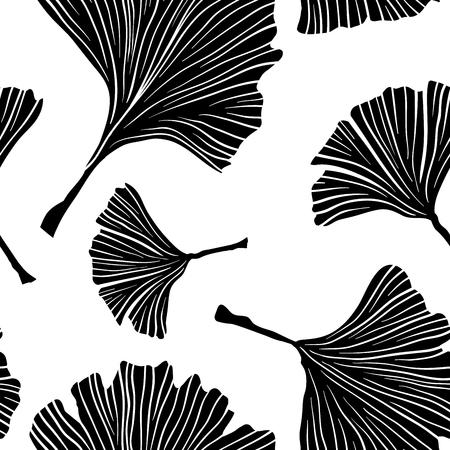 Ginkgo Biloba Plant Seamless Pattern, Large Black Leaves Silhouettes on White. Vector Monochrome Illustration. Ayurvedic Medicine Theme. Japanese Tree.