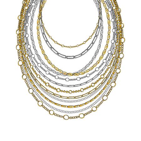 Encaje de cuello de cadena dorada y plateada. Vector aislado sobre fondo blanco con estrellas y luces brillantes. Ilustración de accesorios de moda